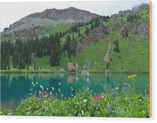 Colorful Blue Lakes Landscape Wood Print