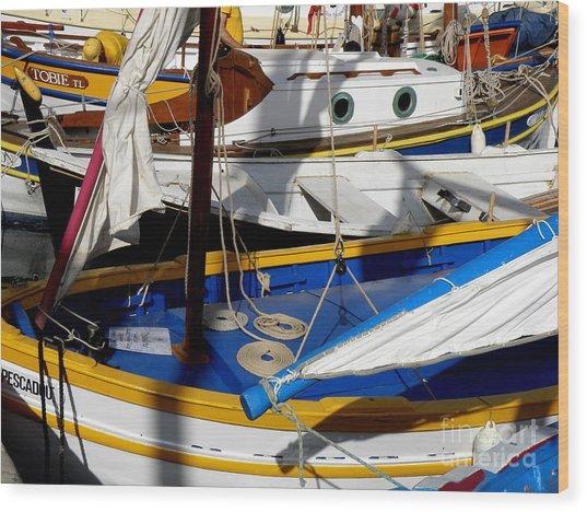 Colorful Boats Wood Print