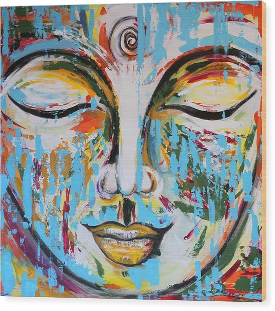 Colorful Buddha Wood Print