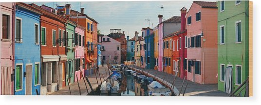 Wood Print featuring the photograph Colorful Burano Canal Panorama View by Songquan Deng