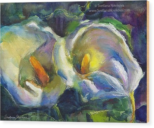 Colorful Calla Flowers Painting By Wood Print