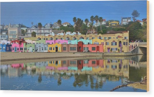 Colorful Capitola Venetian Hotel Wood Print