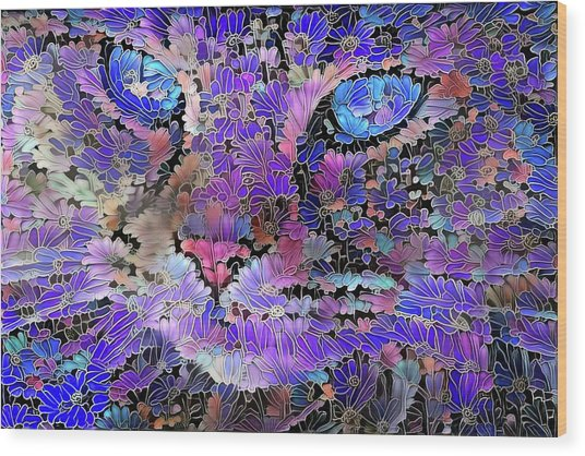 Flower Cat 2 Wood Print