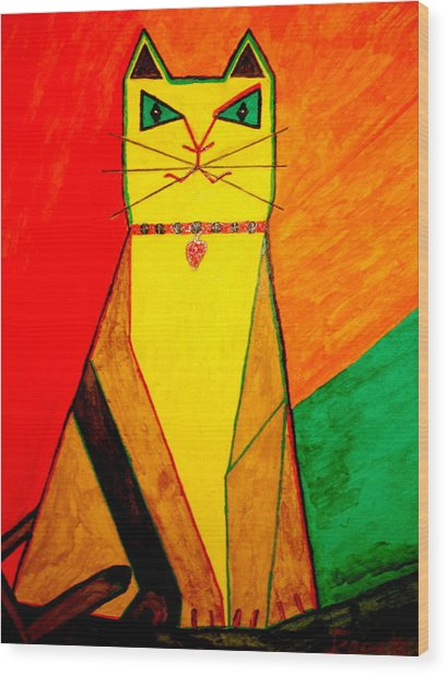 Colorful Cat Wood Print