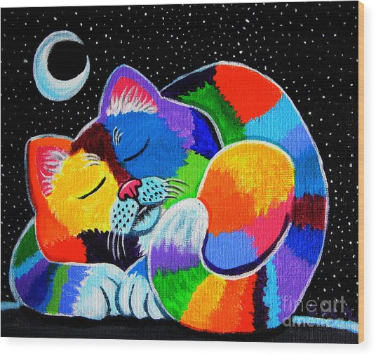 Colorful Cat In The Moonlight Wood Print