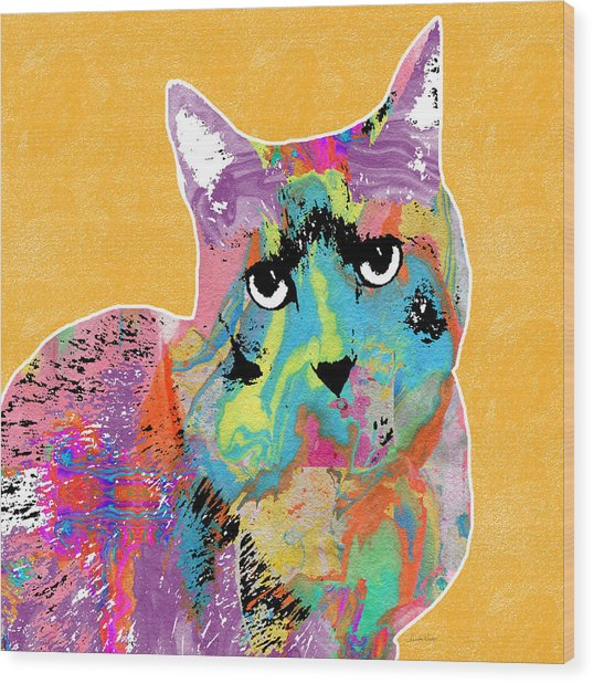 Colorful Cat With An Attitude- Art By Linda Woods Wood Print