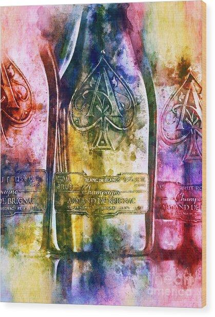Colorful Champagne Wood Print