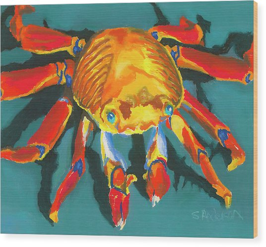 Colorful Crab II Wood Print