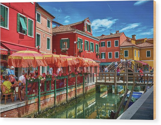 Colorful Day In Burano Wood Print