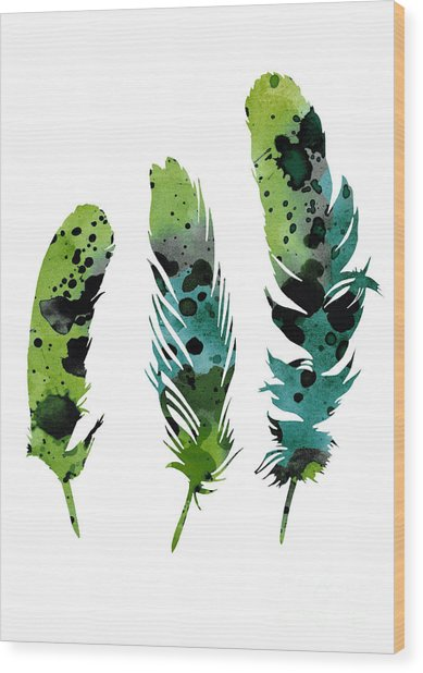 Colorful Feathers Minimalist Painting Wood Print