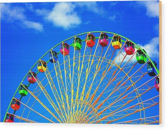 Colorful Ferris Wheel Wood Print