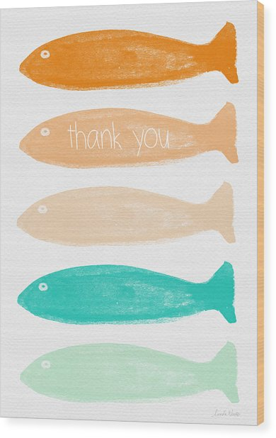 Colorful Fish Thank You Card Wood Print