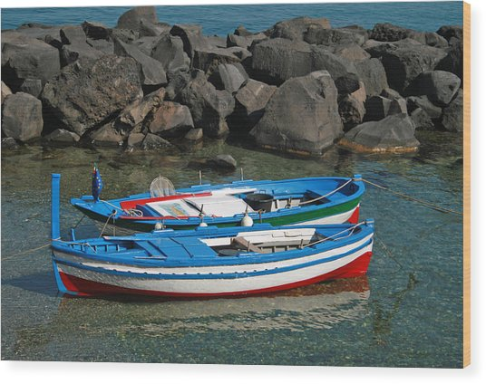 Colorful Fishing Boats Wood Print by Chuck Wedemeier