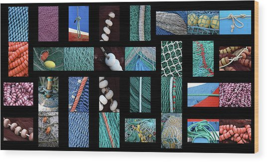 Colorful Fishing Nets Wood Print by Frank Tschakert