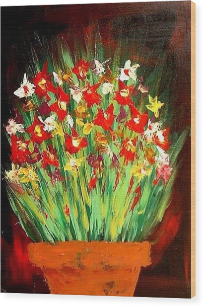 Colorful Flowers Wood Print by Teo Alfonso
