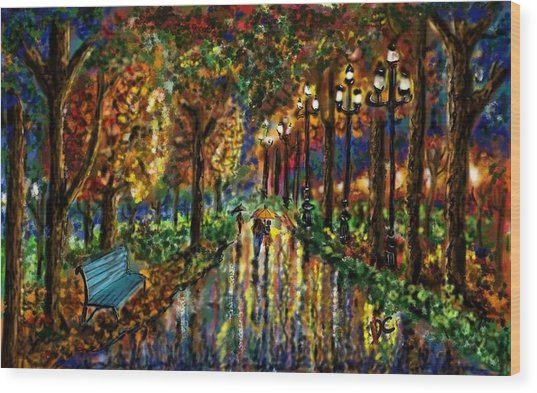 Wood Print featuring the digital art Colorful Forest by Darren Cannell