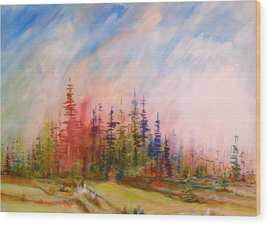 Colorful Forest Wood Print by Gunter Kreil