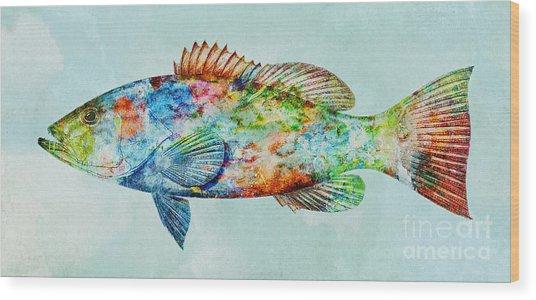 Colorful Gag Grouper Art Wood Print