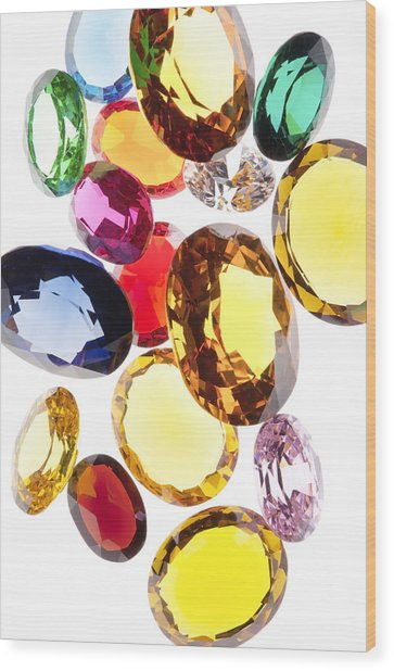 Colorful Gems Wood Print