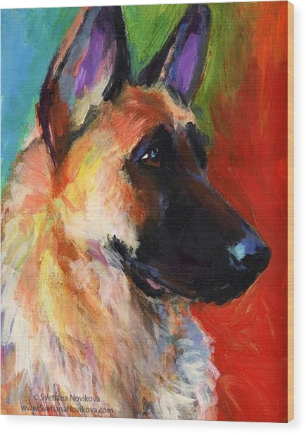 Colorful German Shepherd Painting By Wood Print