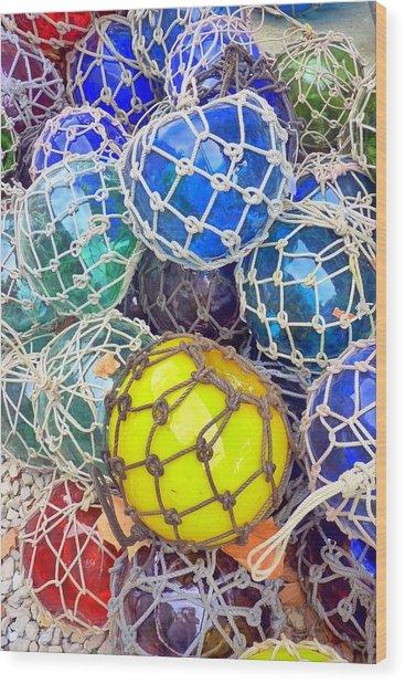 Colorful Glass Balls Wood Print