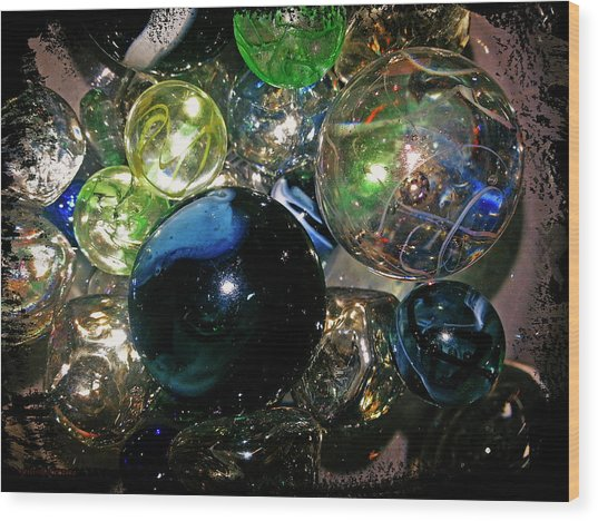 Colorful Glass Marbles Wood Print