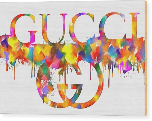 Colorful Gucci Paint Splatter Wood Print