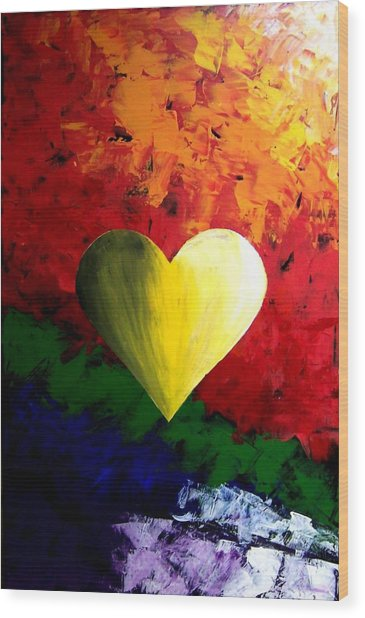Colorful Heart Valentine Valentine's Day Wood Print by Teo Alfonso
