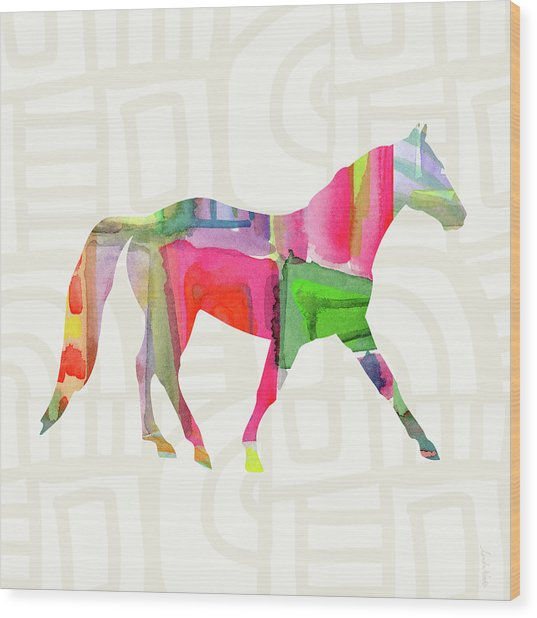 Colorful Horse 1- Art By Linda Woods Wood Print