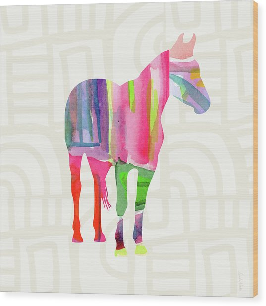 Colorful Horse 2- Art By Linda Woods Wood Print