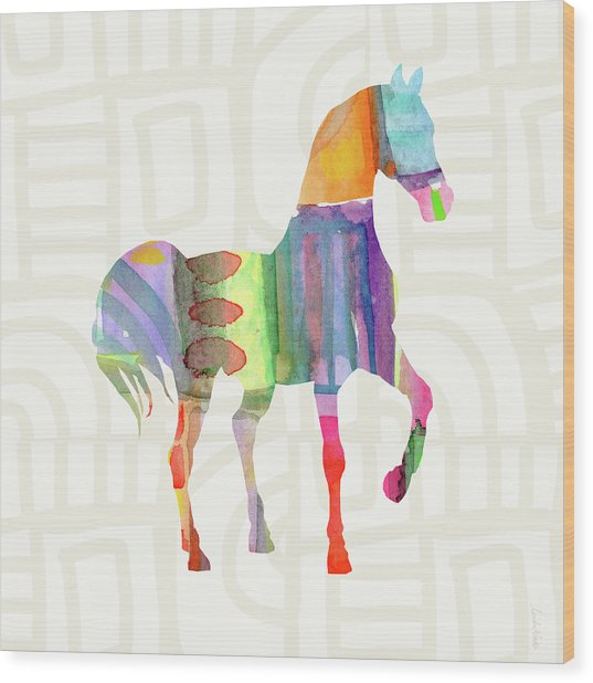 Colorful Horse 3- Art By Linda Woods Wood Print