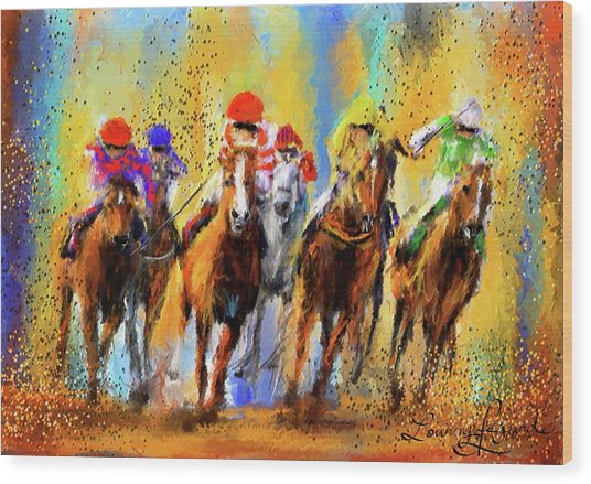 Colorful Horse Racing Impressionist Paintings Wood Print