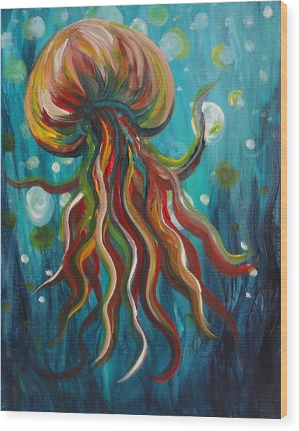 Colorful Jellyfish Wood Print