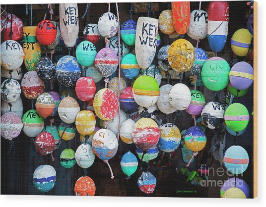 Colorful Key West Lobster Floats Wood Print
