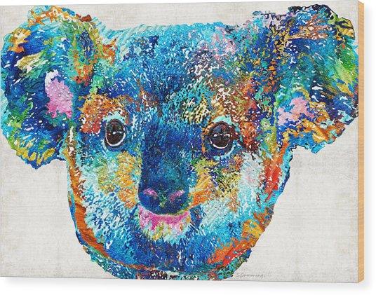 Colorful Koala Bear Art By Sharon Cummings Wood Print