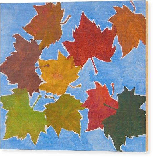 Colorful Leaves Wood Print by Vitali Komarov