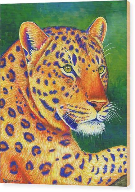 Colorful Leopard Portrait Wood Print