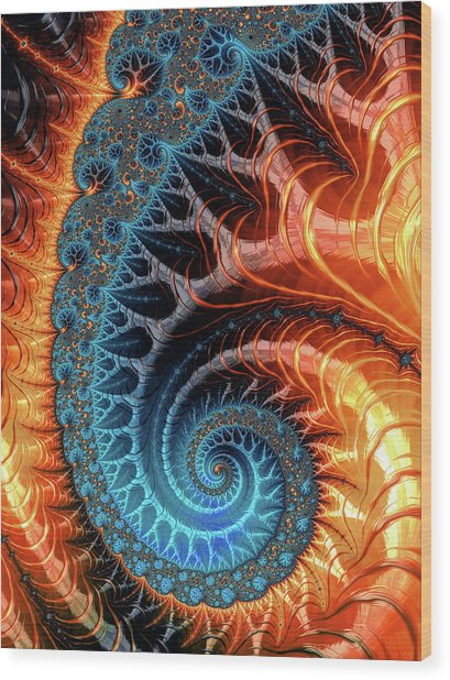 Colorful Luxe Fractal Spiral Turquoise Brown Orange Wood Print