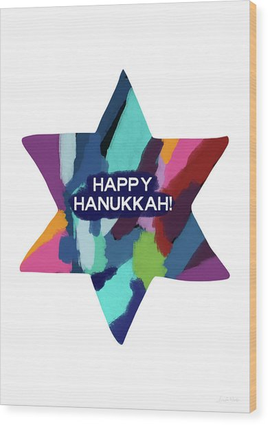 Colorful Modern Hanukkah- Art By Linda Woods Wood Print