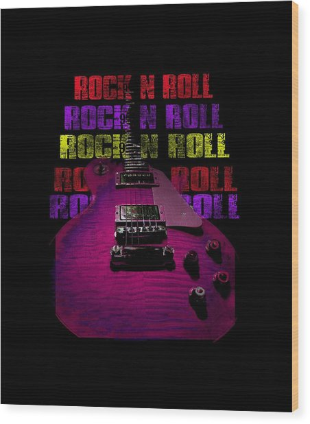 Wood Print featuring the photograph Colorful Music Rock N Roll Guitar Retro Distressed T-shirt by Guitar Wacky