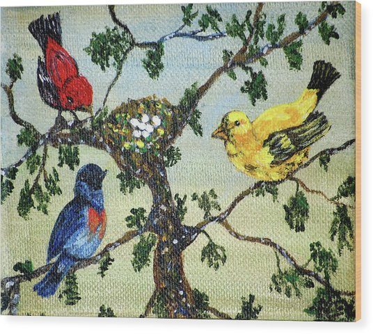Colorful Nesting Birds Wood Print by Ann Ingham