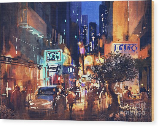 Wood Print featuring the painting Colorful Night Street by Tithi Luadthong