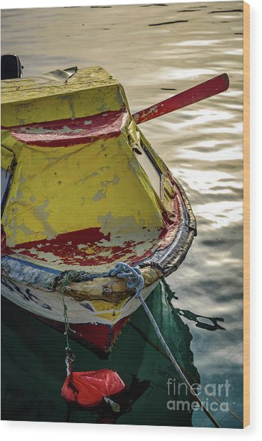 Colorful Old Red And Yellow Boat During Golden Hour In Croatia Wood Print