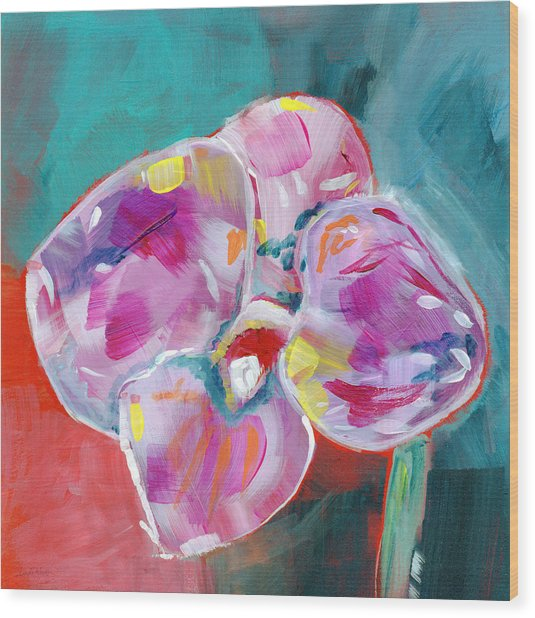 Colorful Orchid- Art By Linda Woods Wood Print