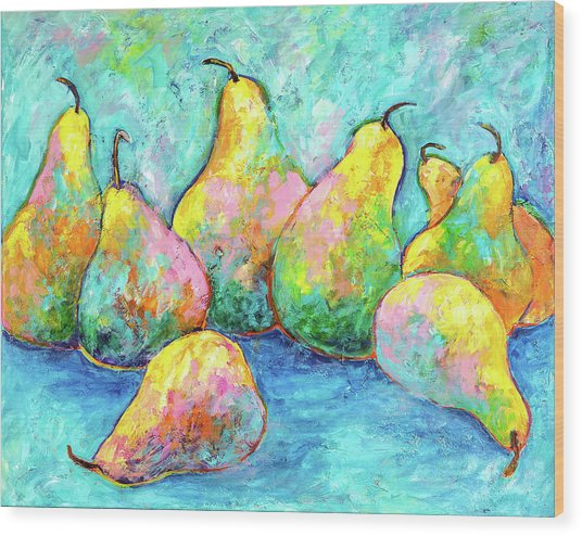 Colorful Pears Wood Print
