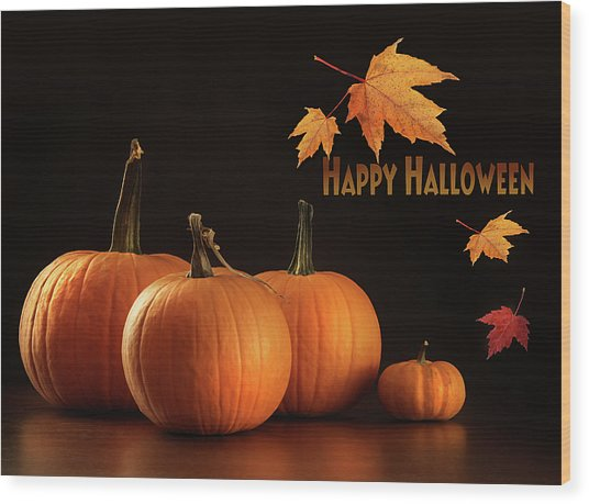 Colorful Pumpkins On Wood Table On Dark  Wood Print