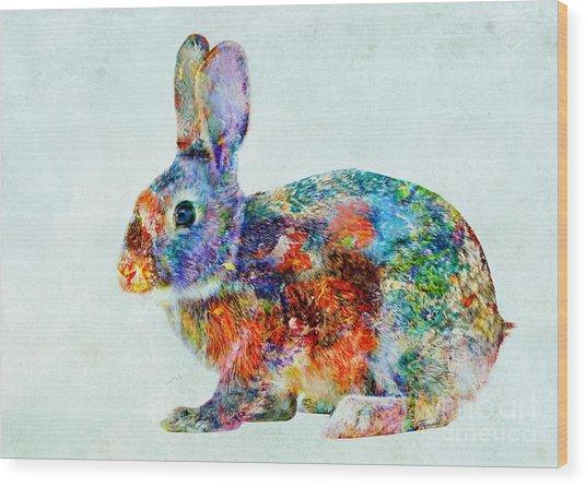 Colorful Rabbit Art Wood Print