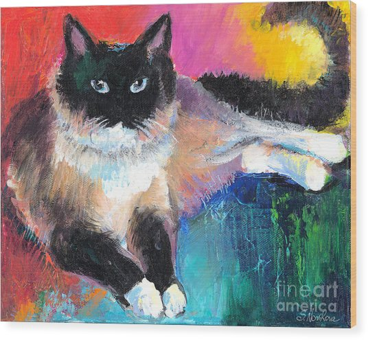 Colorful Ragdoll Cat Painting Wood Print