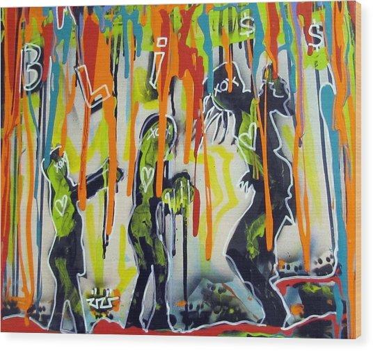 Colorful Rain And Bliss Wood Print