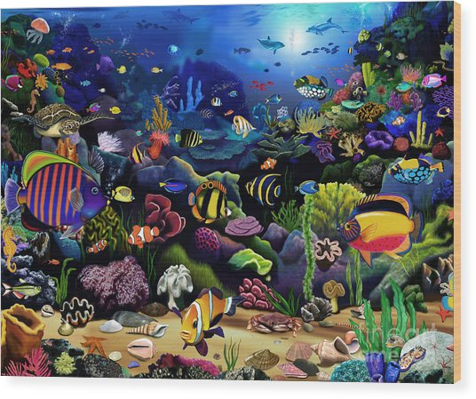 Colorful Reef Wood Print